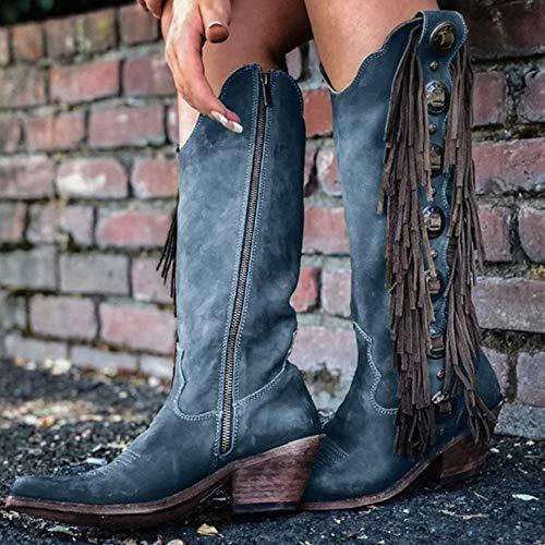 LYYJF Botas de media pantorrilla para mujer con tacón grueso, botas de tacón medio, estilo vintage, de piel sintética, azul, 36 EU