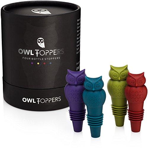 Owltopper's Bottle Stoppers 4 Pack, 2 Sizes Wine Saver, Champagne Preserver, Decorative Glass Bottle Cork Set, Unique Wine Lover Gift Idea by Owltopper