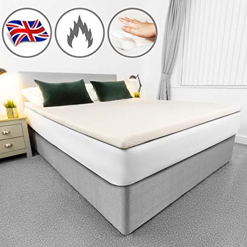 AviiatoR® 5 cm Memory Foam matras topper, gemaakt in het Verenigd Koninkrijk, bed topper, orthopedische drukontlasting met wasbare & afneembare hoes, ondersteuning pijnverlichting