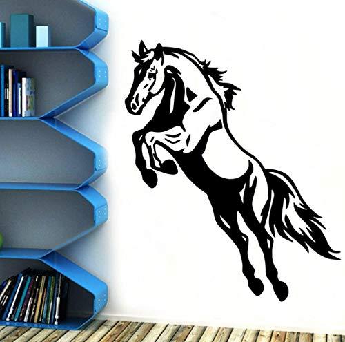 Papel pintado de vinilo autoadhesivo de caballo de salto Retro para decoración de habitaciones de niños y bebés calcomanía artística de vinilo arte de pared de caballo deportivo Mutal 42x54cm