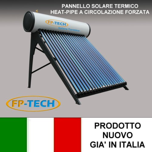 PANNELLO SOLARE TERMICO HEAT PIPE PRESSURIZZATO ACCIAIO INOX ACQUA CALDA SANITARIA (180 Litri - Heat Pipe)