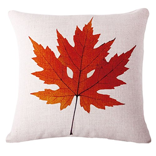 LeiOh Autunno Maple Leaf Fall Thanksgiving Decorations Cotton Linen Home Decor Divano tiro Federa per Cuscino, Christmas Day Gifts