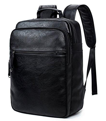beibao shop Backpack Sacs à Dos pour Ordinateur Portable PU Casual Épaules Grande capacité Extérieur Voyager Multi-Fonctionnel Sac à Dos d'ordinateur, Black