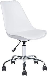 Silla de Oficina para niños Milan giratoria y ergonómica, sin reposabrazos, Asiento con Ruedas con Altura Ajustable, Color Blanco, 48 x 53 x 82 – 92 cm