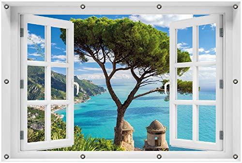Wallario Garten-Poster Outdoor-Poster 100 x 150 cm mit Fenster-Illusion: Italienische Küste in Premiumqualität, für den Außeneinsatz geeignet