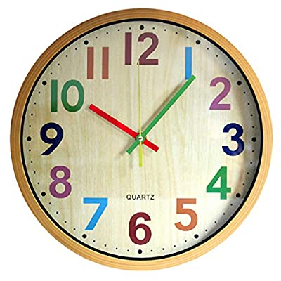 TOHOOYO Wall Clock, 12 Inch Easy to Read Silent Non-Ticking Colorful Battery Operated Clock,for Bedroom,Living Room,Kitchen,Office,School Classroom (Yellow)