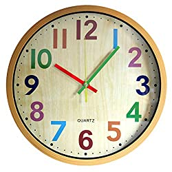 Wall Clock, 12 Inch Easy to Read Silent Non-Ticking Colorful Battery Operated Clock ,for Bedroom,Living Room,Kitchen,Office,School Classroom ( Yellow )