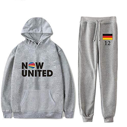 Now United Conjunto De Dos Piezas Sudaderas con Capucha para Mujeres/Hombres + Pantalones Largos Bandera De Alemania 12 Pullover Unisex Traje Haraju