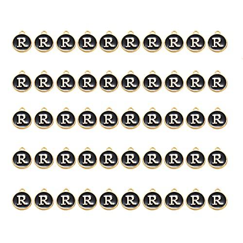 50 Uds., Colgante de Letras, Esmalte, Colgante de Alfabeto, Esmalte de Doble Cara con Agujero para Bricolaje, Pulsera, Encantos, Collar, Colgantes, Pendiente, Fabricación de Joyas