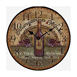 Distressed Grape Wine Wood Clock Wall Decor Wall Clock 10 Inch Home Office Bedroom Living Room Clock