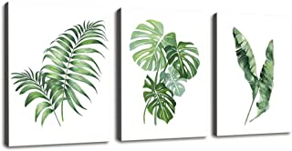 Canvas Wall Art for Bathroom Wall Decor Simple Green Leaf Canvas Prints Bedroom Wall Decor - 3 Panels Framed Wall Pictures Tropical Monstera Plant Banana Leaf Watercolor for Home Office Wall Decor