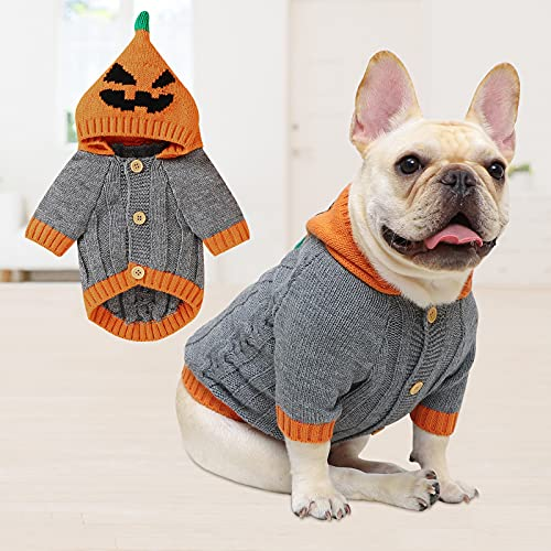 Untyo Dog Sweater Halloween Pet Sweaters Pumpkin Holiday Party for Cat and Puppy (Gray, Small)