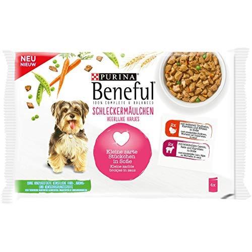 BENEFUL slekkermolchen hondenvoer, pak van 10 (10 x 400 g), Lamm & kist
