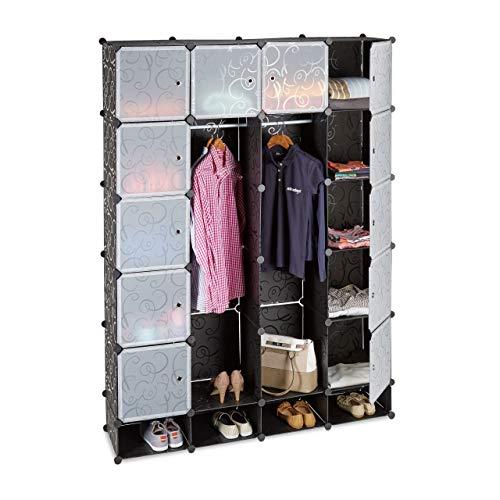 Relaxdays Kleiderschrank Stecksystem mit 18 Fächern, Kunststoff, XXL Garderobenschrank m. Muster, 145 x 200 cm, schwarz