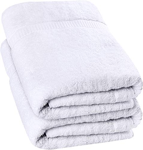 utopia luxury bath towels Utopia Towels - Luxurious Jumbo Bath Sheet (35 x 70 Inches, White) - 600 GSM 100% Ring Spun Cotton Highly Absorbent and Quick Dry Extra Large Bath Sheet - Super Soft Hotel Quality Towel (2-Pack)