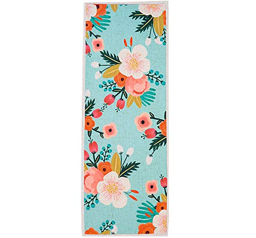MR FANTASY Non Slip Kitchen Accent Area Rug Runner Floral Hallway Bathroom Runner Absorbent Kitchen Mat Doormat