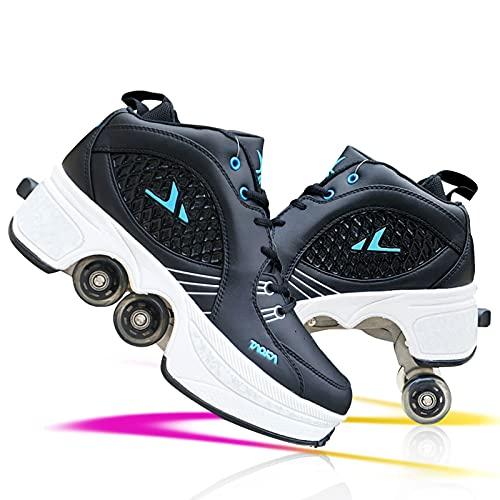 Unisex Niños Zapatos De Roller Ajustables Ruedas Zapatos De Skate Deportes Al Aire Libre Skateboard Sneaker Trainers Zapatillas De Skateboard