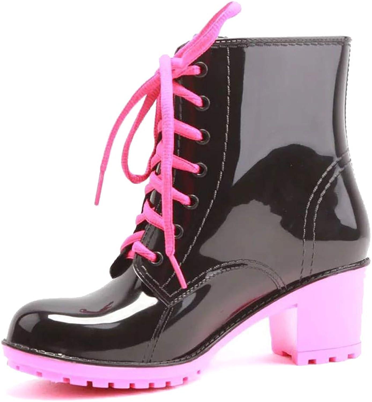 Odema Women's Waterproof Short Ankle Rain Boots Fashion Waterproof Slip On Ankel Footwear