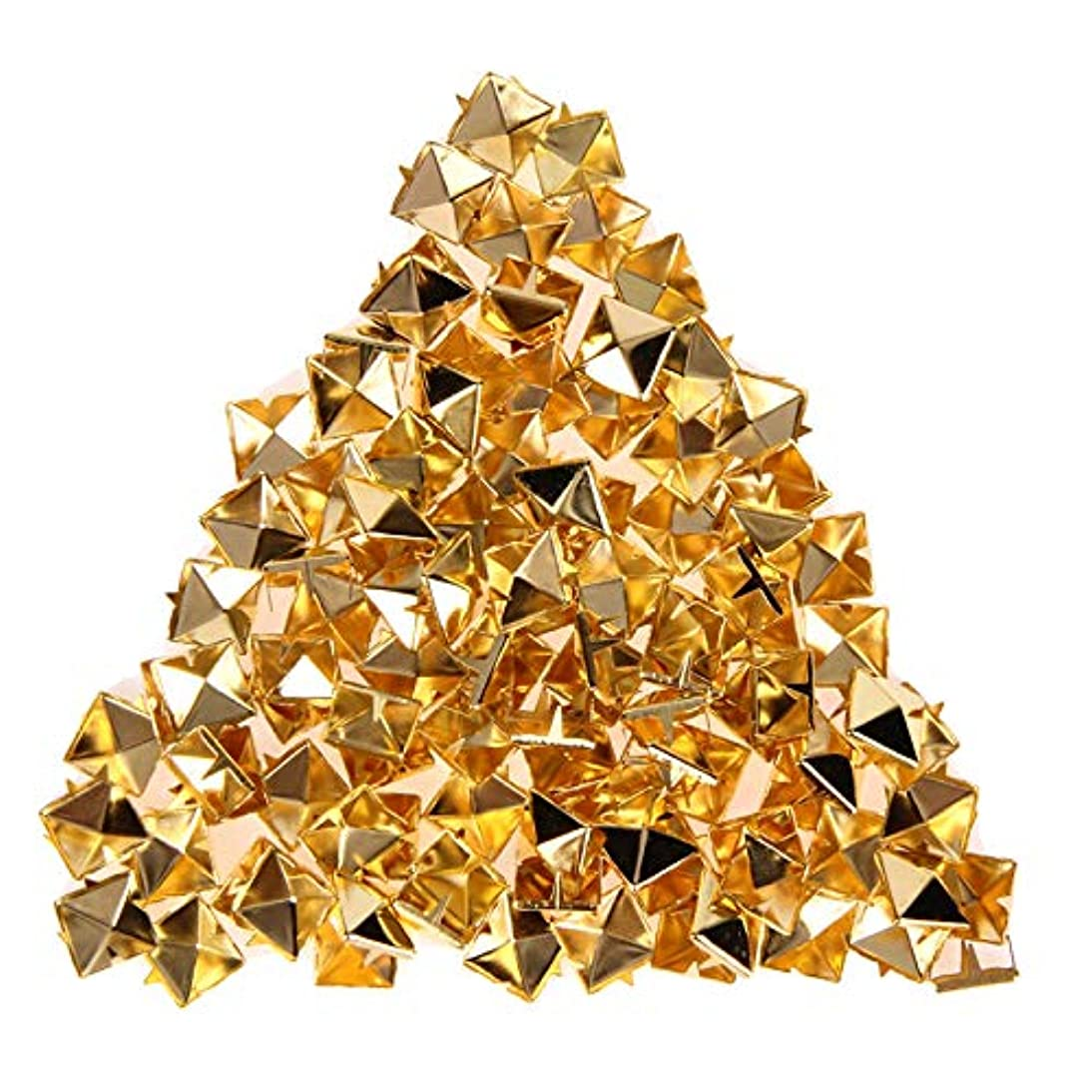 RuiLing 120pcs 3/8 Inch Gold DIY Nailhead Square Pyramid Studs Leathercraft Rivet Metal Punk Spikes Spots for Punk Rock Leather Craft Clothes Belt Bag Shoes Jewelry Decorations 10mm