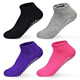 Antirutschsocken Damen - 4 Paar Yoga Pilate Trampolin Ballett Socken for Damen Herren ABS Socken Damen Grau+Lila+Schwarz+Pink