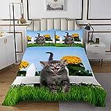 Loussiesd - Copriletto trapuntato con motivo di gatti per ragazze, ragazzi, con stampa a gattino, trapuntata, motivo animale 3D, trapuntato, motivo floreale, taglia unica, 2 pezzi