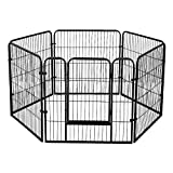 XhuangTech Heavy Duty Puppy Play Pen Pet Foldable and Portable Playpen for Dogs Cat Rabbit Indoor/Outdoor,6 Panel (Black (80cm x 80cm))