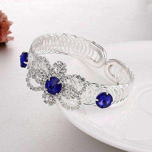 Creatieve Sieraden Open Verstelbare Armband Mode Strass Bloem Koper Armband Ring Armband Sieraden Sieraden, saffier blauw