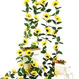 4 Piezas Guirnalda de Flores Artificiales Girasoles,Flor Artificial Girasol Vid...