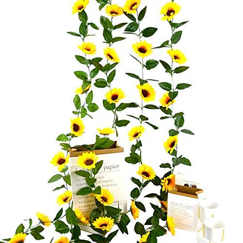 4 Piezas Guirnalda de Flores Artificiales Girasoles,Flor Artificial Girasol Vid de Seda con Hojas Verdes Decoración de Mesa de Boda