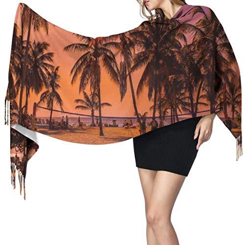 Pashmina Shawls and Wraps Scarf, Palm Tree Beach Holiday Sun Women's Fashion Long Shawl Winter Warm Large Scarf Cashmere Scarf