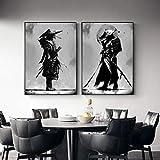 WTYBGDAN Blanco y Negro Japón Samurai Retrato Arte de Pared Bushido Lienzo Pintura Guerreros japoneses Carteles Impresos en Lienzo para Sala de Estar   50x70cmx2Pcs   sin Marco