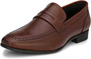 San Frissco Men's Brown Leather Formal Loafers - 9 UK