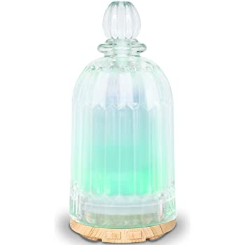 MADETEC Aromatherapy Glass Oil Diffuser Essential Oil Diffuser Humidifiers with 7 Changing Color Led Light,Auto Shut-off for Home Bedroom Office (120ml)