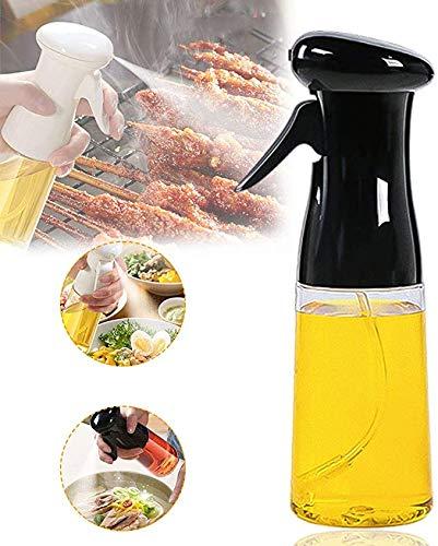 Ölsprüher Flasche Öl Sprayer Olivenöl Spender Glas 210ml Verbessertes Oil Sprayer für Salat, BBQ, Backen, Pasta, BPA-Free Safe für Küche Kochen (Schwarz)