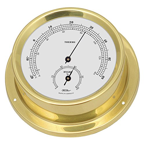 Maritimes Thermo-Hygrometer, ø 125 mm, Messing poliert