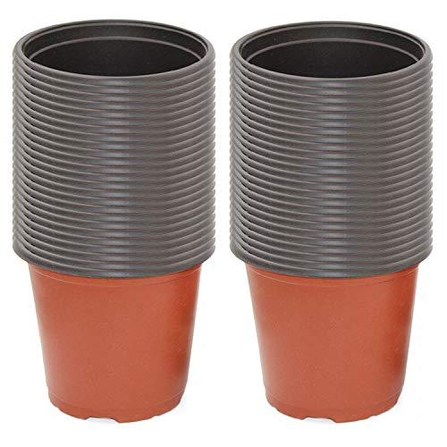 Gosear 50PCS Mini Ronda de Flores de plástico macetas de Plantas suculentas vivero Maceta contenedor para hogar Oficina jardín alféizar balcón 10 cm