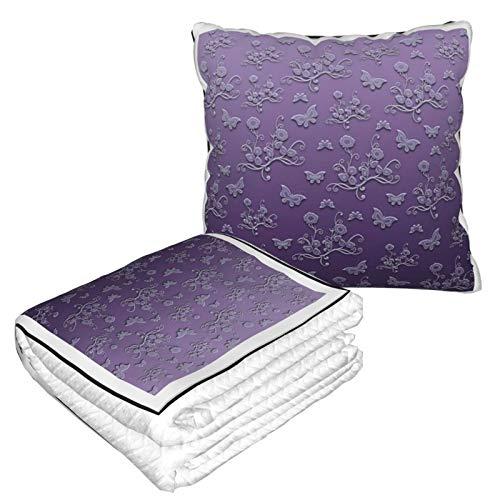 Manta de almohada de terciopelo suave, 2 en 1, con bolsa suave, flores, mariposas en estampados morados, funda de almohada para casa, avión, coche, viajes, películas