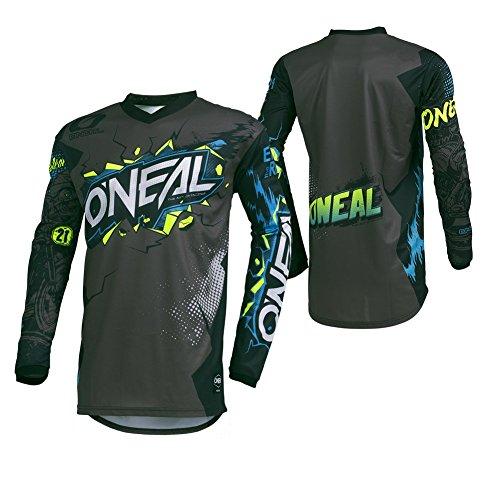 O\'NEAL | Motocross-Trikot | Enduro Motorrad | Passform für Maximale Bewegungsfreiheit, Eingenähter Ellbogenschutz, Atmungsaktiv | Jersey Element Villain | Erwachsene | Grau | Größe M