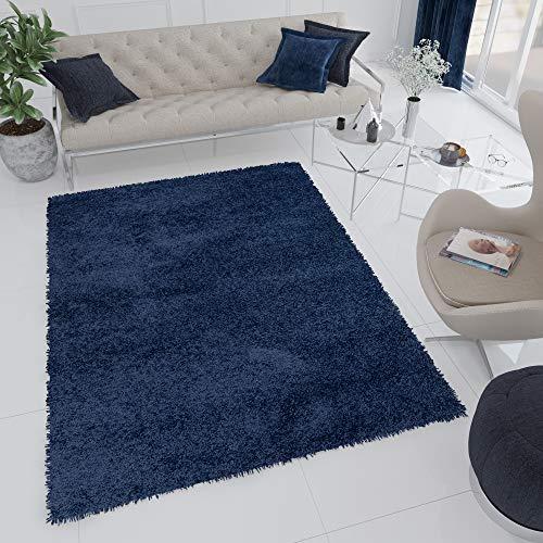 Tapiso Essence Alfombra de Salon Comedor Sala Dormitorio Juvenil Diseño Moderno Azul Marino Mullido Shaggy 160 x 220 cm