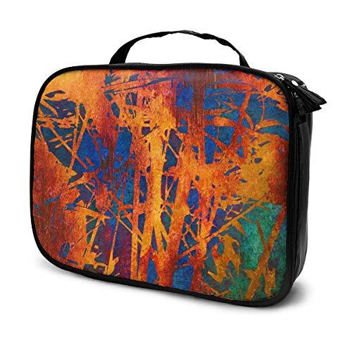 Trousses à maquillage pour les femmes, étui à crayons Art Floral Vintage Bright Orange Gold, rouge, bleu et vert
