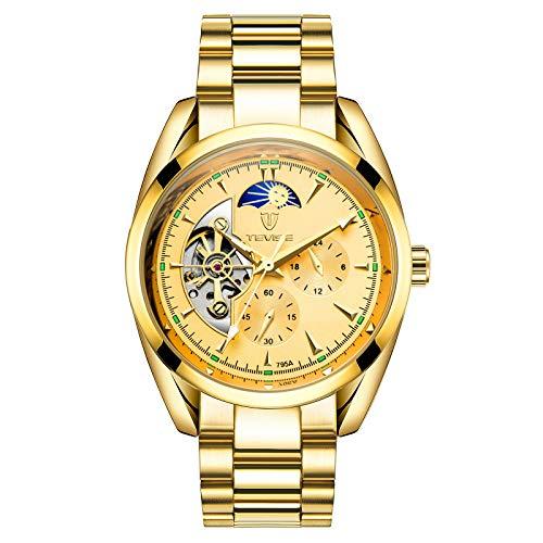 QZPM Hombres Automático Mecánico Relojes Acero Inoxidable Bracelet Esfera Luminosa Multifunción Impermeable Fase Lunar Analógico Business Relojes,Oro