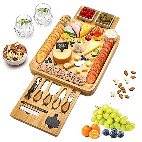 Cheese Board and Knife Set, Bamboo Wood Charcuterie Platter with Slide-Out Cutlery Drawer, Serving Tray for Cheese, Meat, Crackers and Fruit, Perfect Gifts for Housewarming Birthday Wedding