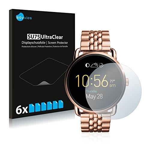 Savvies 6X Schutzfolie kompatibel mit Fossil Q Wander Displayschutz-Folie Ultra-transparent