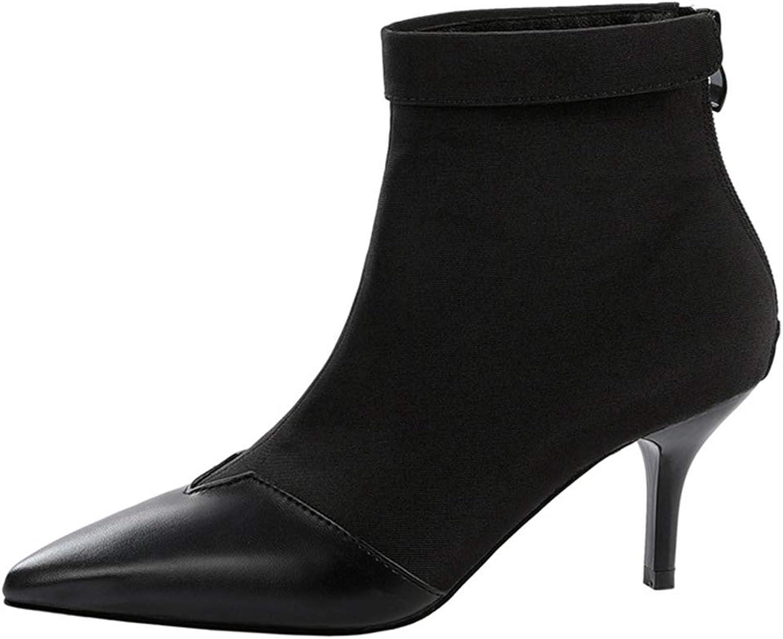 CYBLING Womens Stretch Pointy Toe Ankle Booties Dress Low Kitten Heel Winter Sock Boots for Women