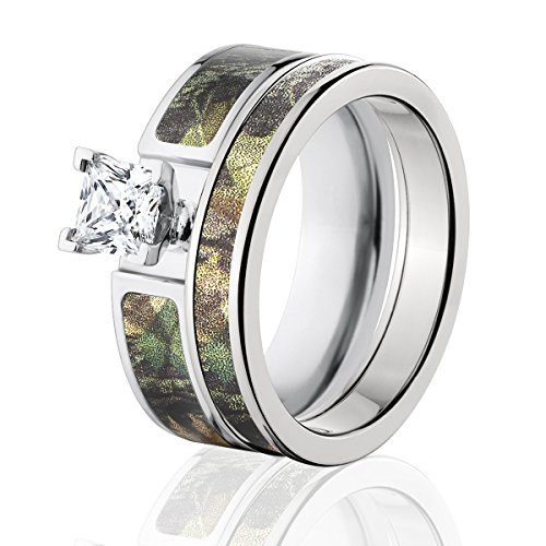 Mossy Oak Camo Bridal Set, Camo Wedding Rings, New Break-Up Camo Rings