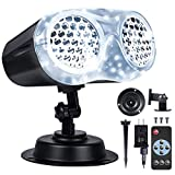 LOFTEK Christmas Projector Lights Outdoor with Remote RF, Upgraded LED Binocular Rotating Snowflake Projector Lights, IP65 Waterproof Snowfall Landscape Light for Xmas Halloween Holiday Party Decor