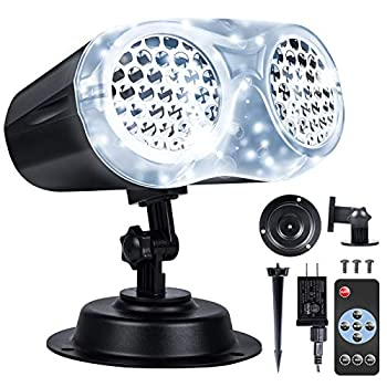 LOFTEK Christmas Projector Lights Outdoor with Remote RF Upgraded LED Binocular Rotating Snowflake Projector Lights IP65 Waterproof Snowfall Landscape Light for Xmas Halloween Holiday Party Decor