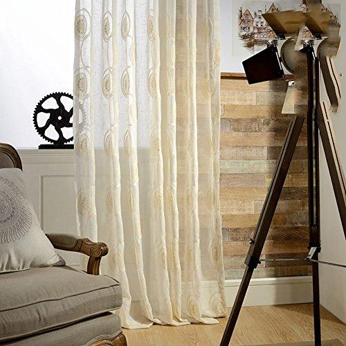 Tine Home Rideaux et Rideaux Sheer Rideaux Blanc Fil brodée pour fenêtre traitements Produit Fini Salon œillets en Haut Un Panneau, Blanc, 1pc(250 * 270 cm)