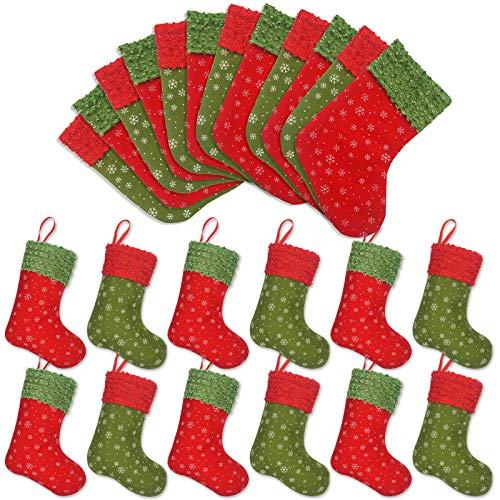 Ivenf Christmas Mini Stockings, 24 Pcs 9 inches Felt with Snowflake Printed, Gift Card Silverware Holders, Bulk Treats for Neighbors Coworkers Kids, Small Rustic Red Xmas Tree Decorations Set