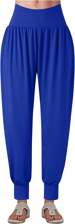 KLGDA Women Solid Color Casual Loose Harem Pants Women Trousers Tie Feet